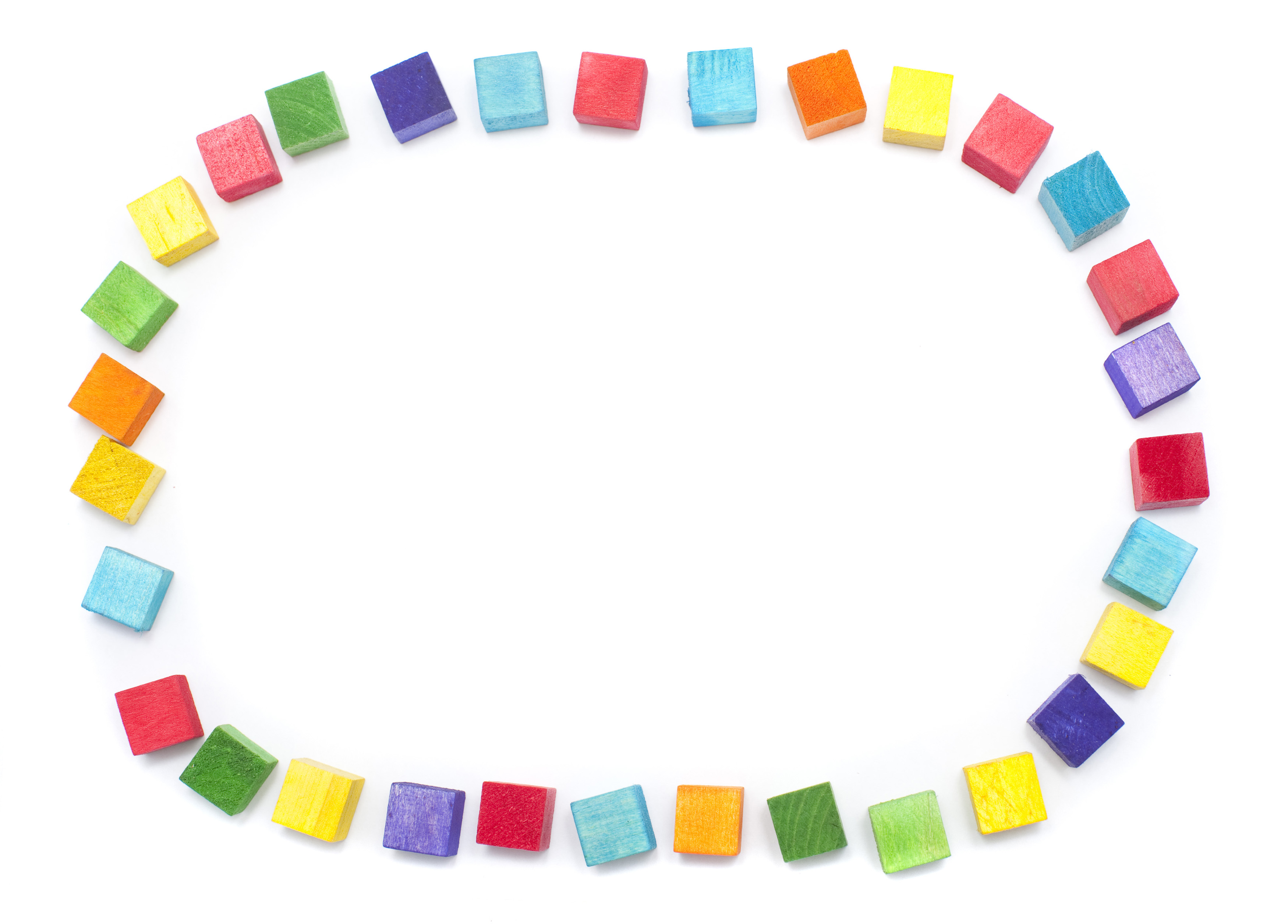 Free image of Colorful oval frame of wooden toy blocks