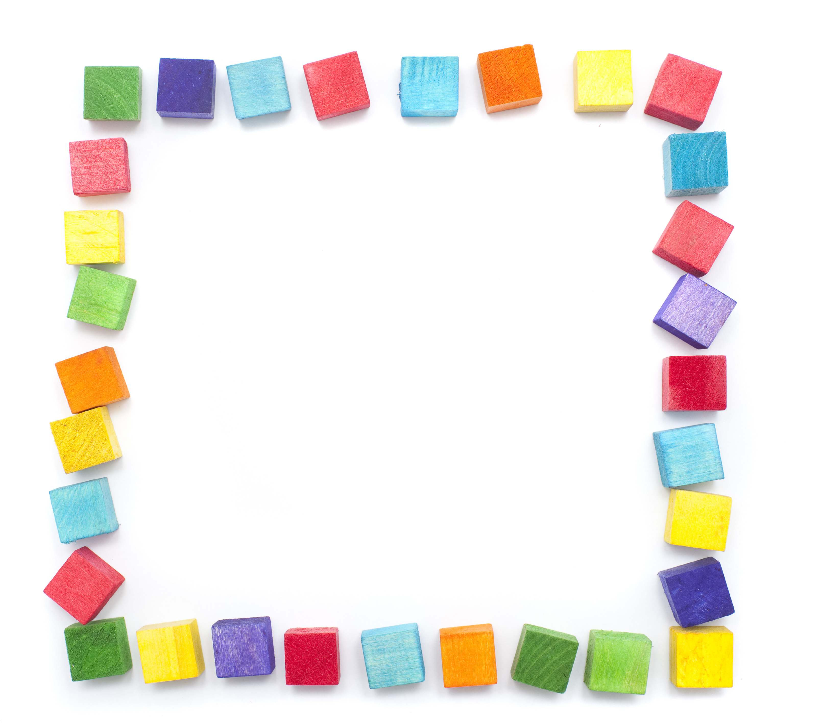 Free image of Colorful square wooden toy block border on white