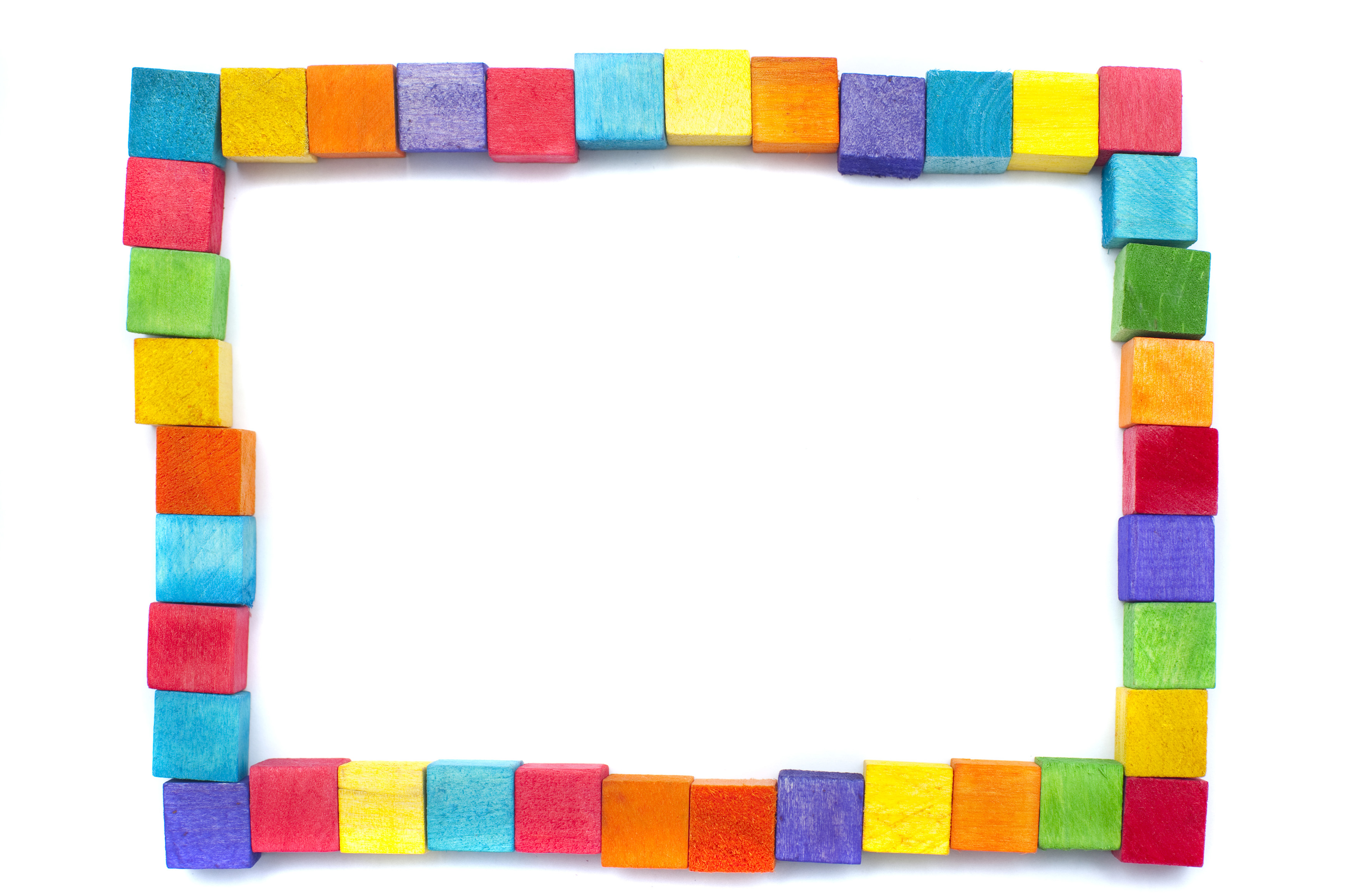 Free image of Rectangular frame of colorful wooden blocks