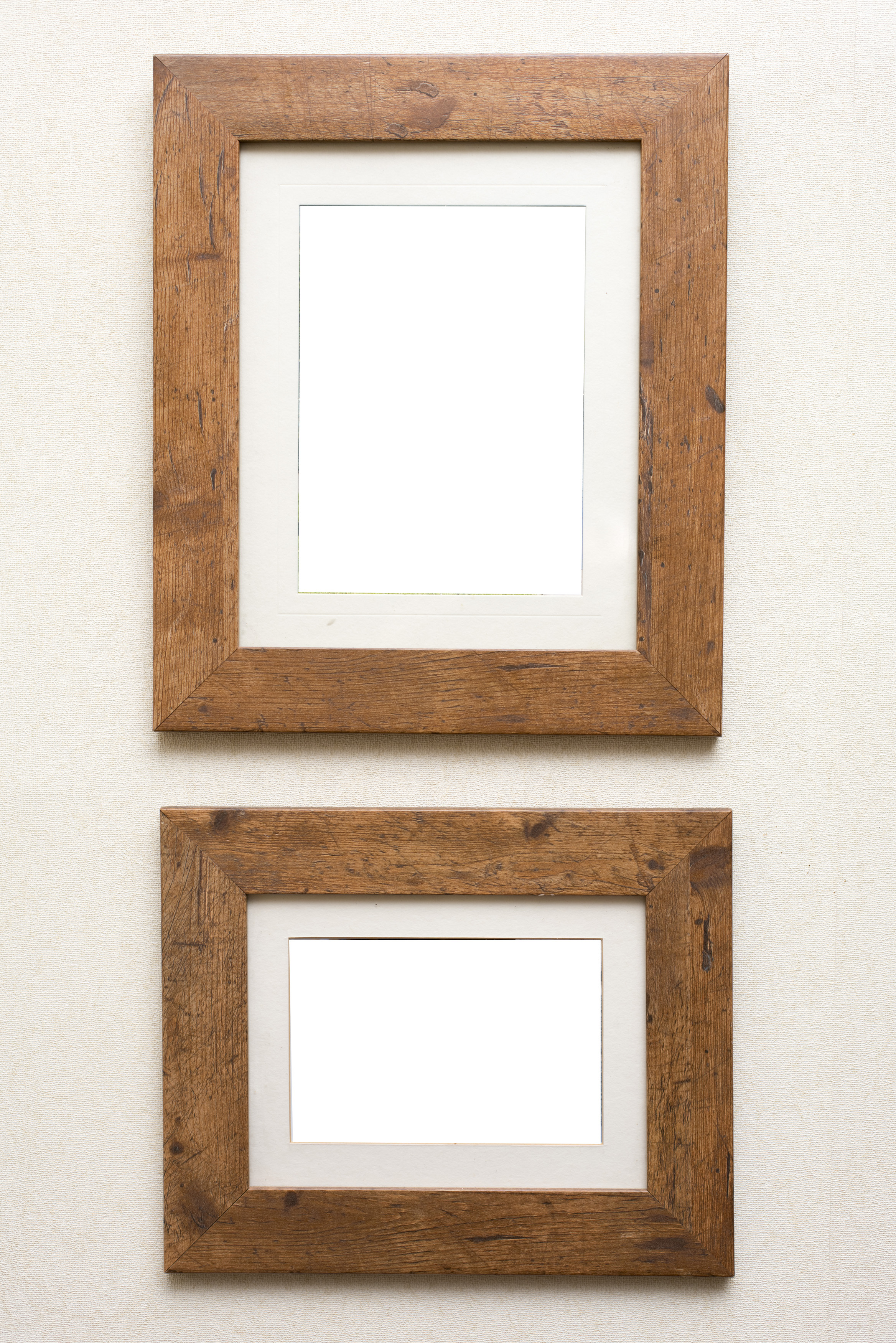 Free image of Two empty rustic wooden frames