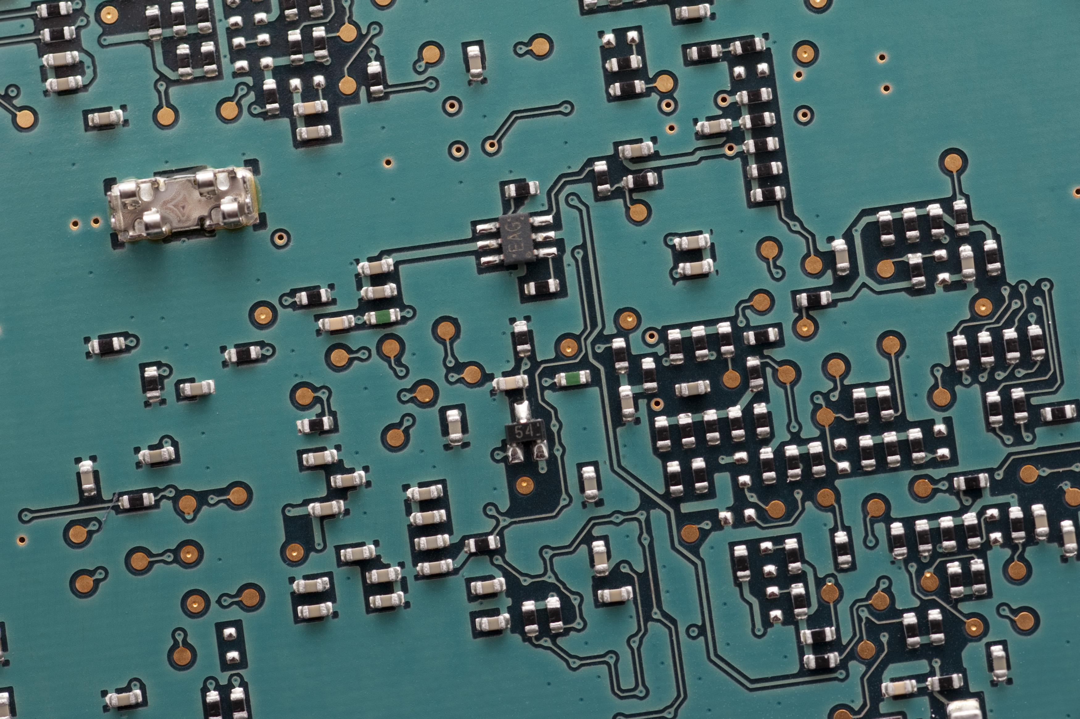 Free image of resistors on printed circuit board