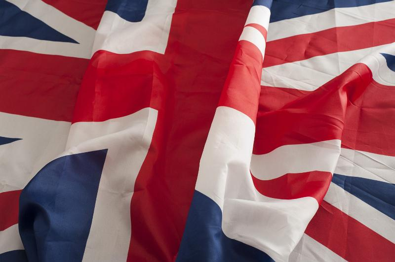 Close-up of the waving national flag of the United Kingdom, known as Union Jack or Union Flag