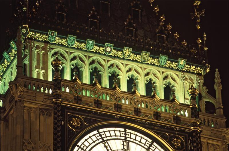 Free image of Close up detail of Big Ben, London, at night