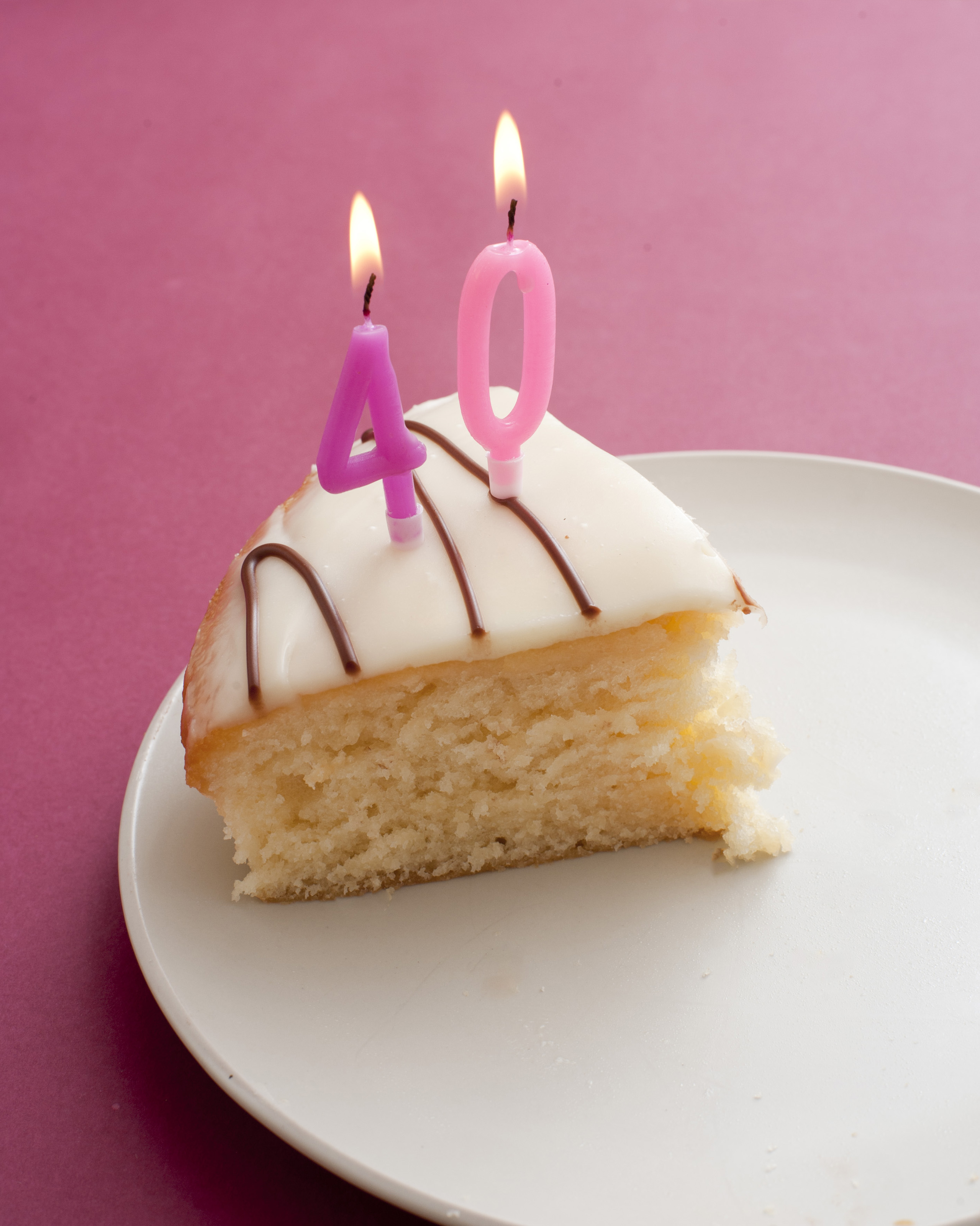 Free Image Of 40th Birthday Candles In Slice Of Cake On Plate