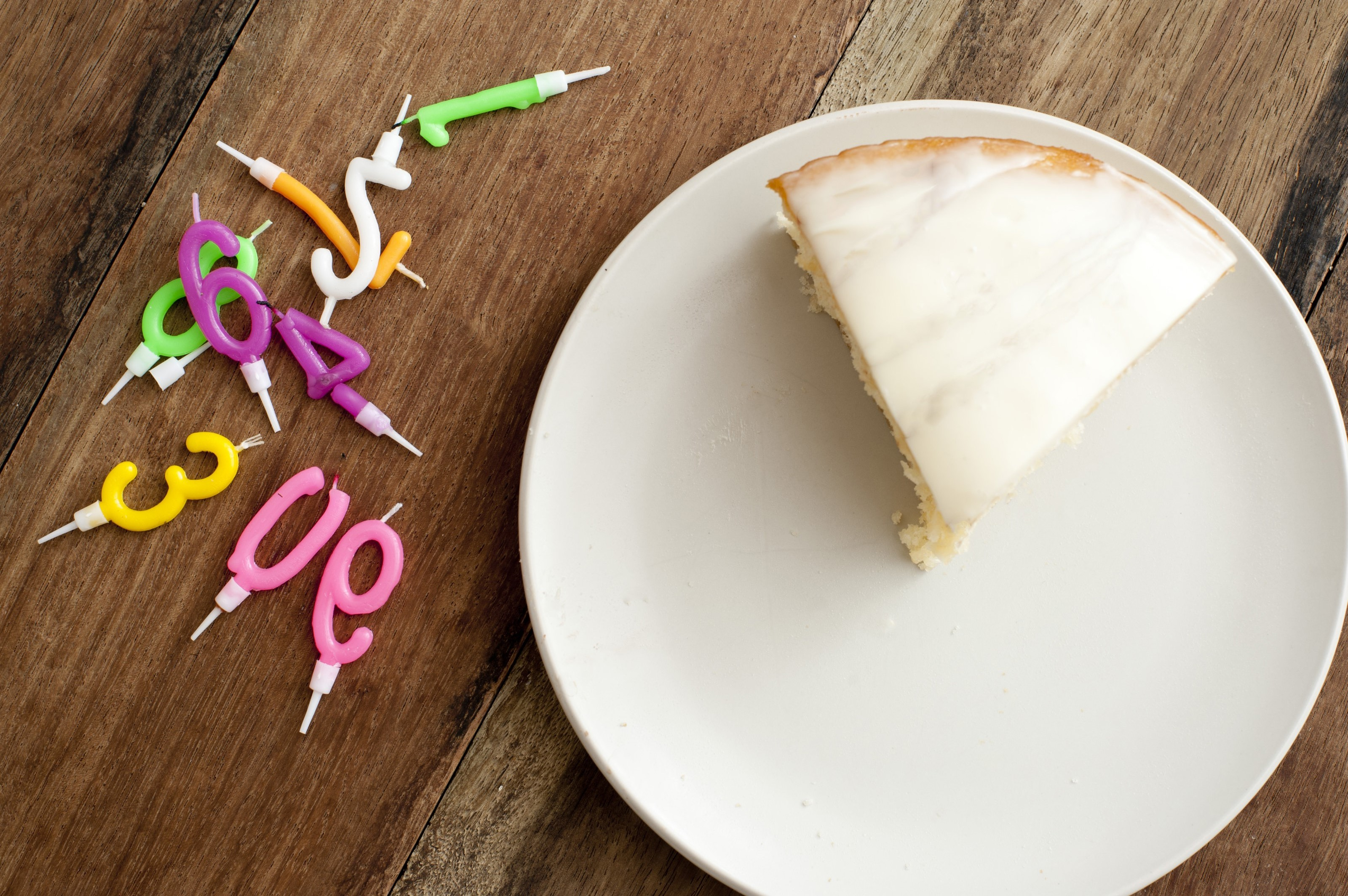 Free Image Of Slice Birthday Cake On Plate With Candles