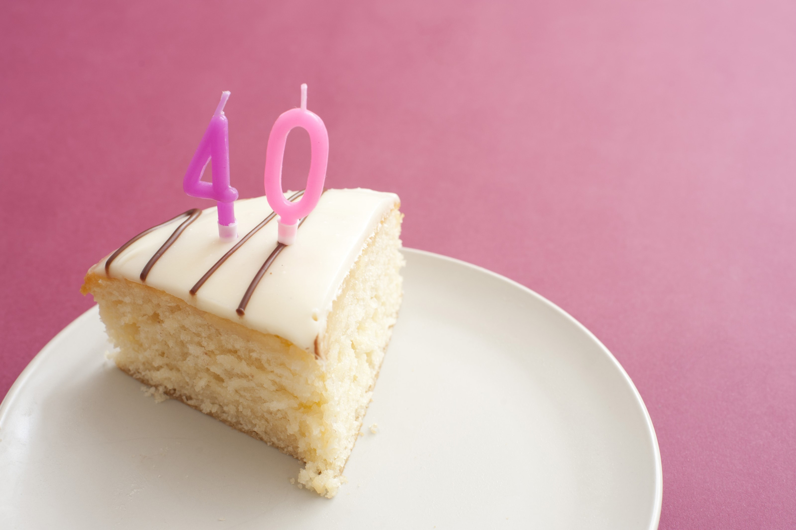 Free Image Of Slice Cake With 40th Birthday Candles