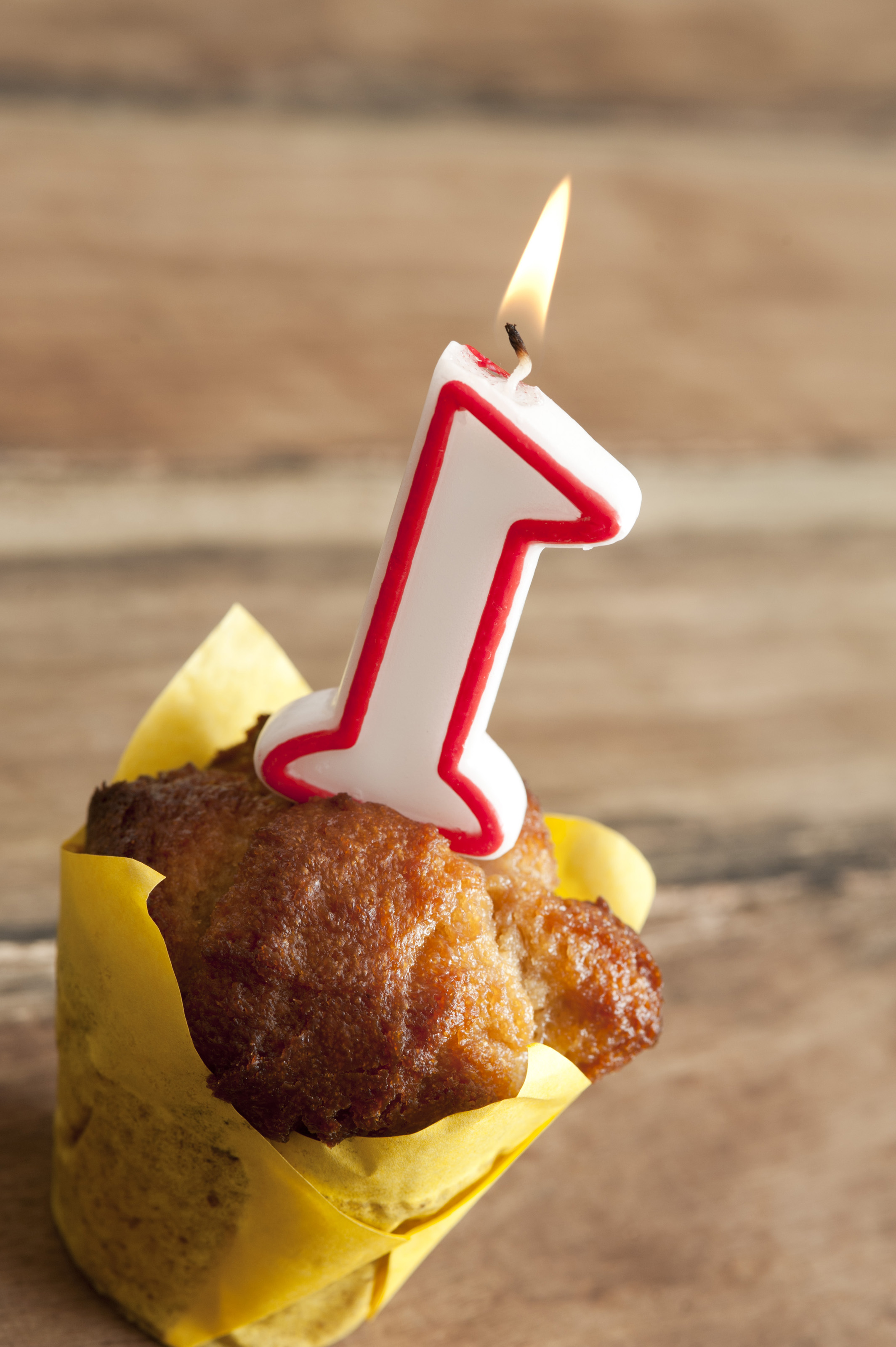 Free Image Of First Birthday Candle In Individual Cake