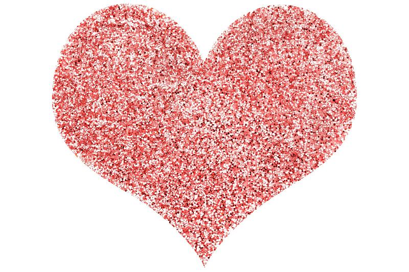 Free Stock Photo: a red love heart shape on white background composed of sparking glitter