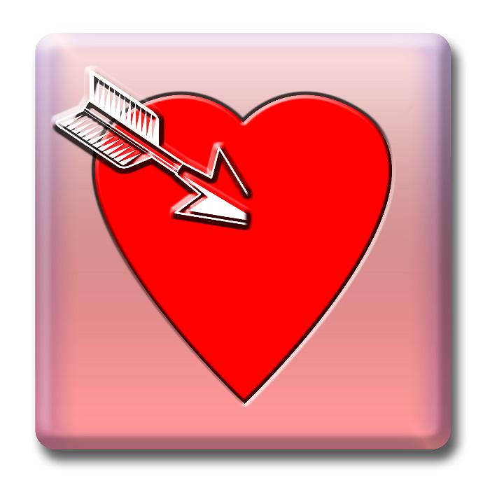 a heart shaped icon with an arrow, concept of cupid and valentine,