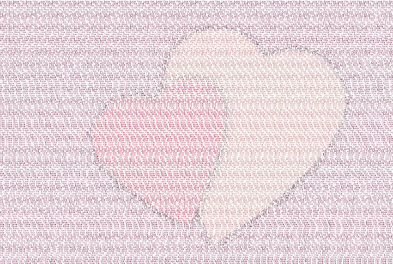 the words love you spelt out many times over creating a pair of heart symbols out of printed letters