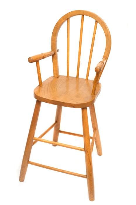 Free image of Wooden oak high chair on white