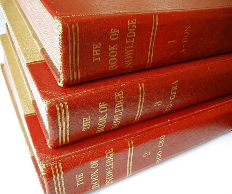 Free image of Stack of Numbered Encyclopedia Books