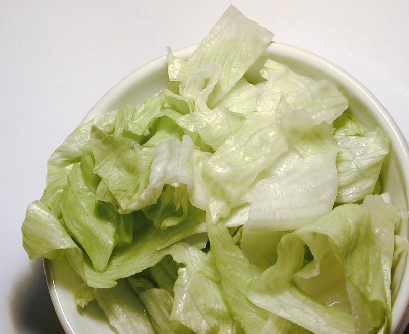 Free image of A bowl of iceberg lettuce