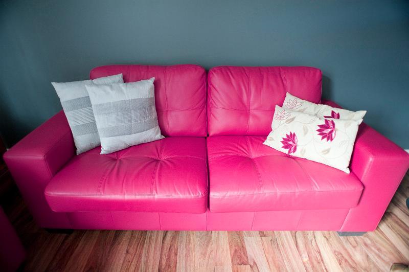 Free Image Of Stylish Pink Leather Sofa