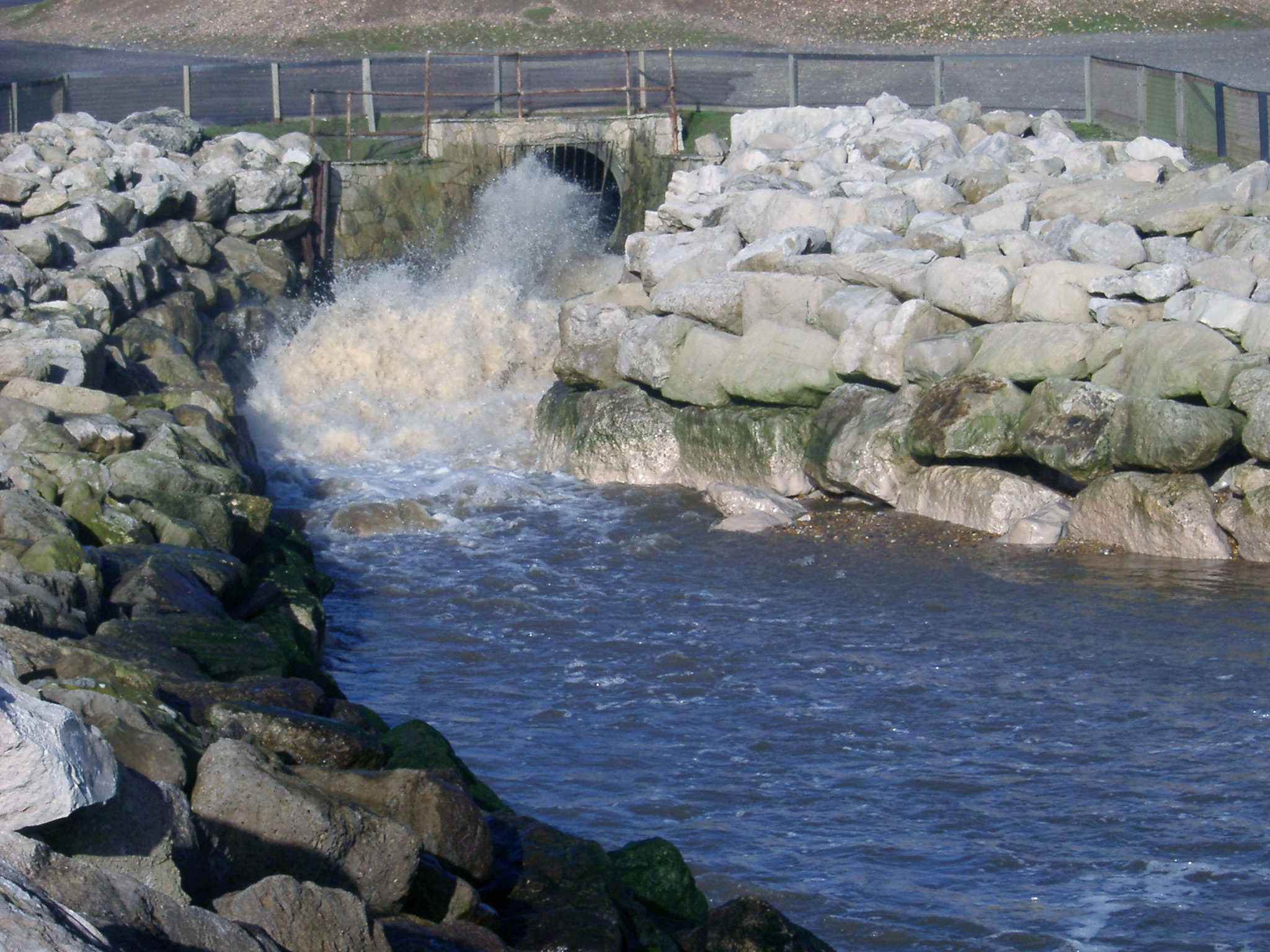 Free image of Water gushing from a stormwater drain or culvert