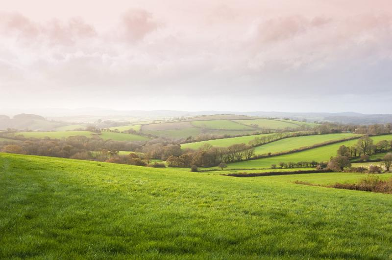 Scenic landscape view of lush rolling green hills in the English countryside with sunlight breaking through morning mist and cloud