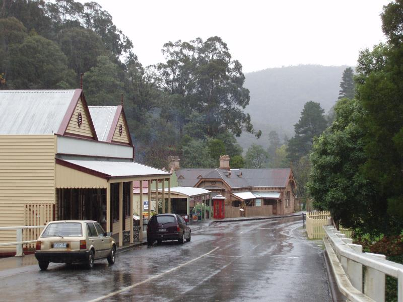 a grey and rainy day in a small vicotrian rural town, australia