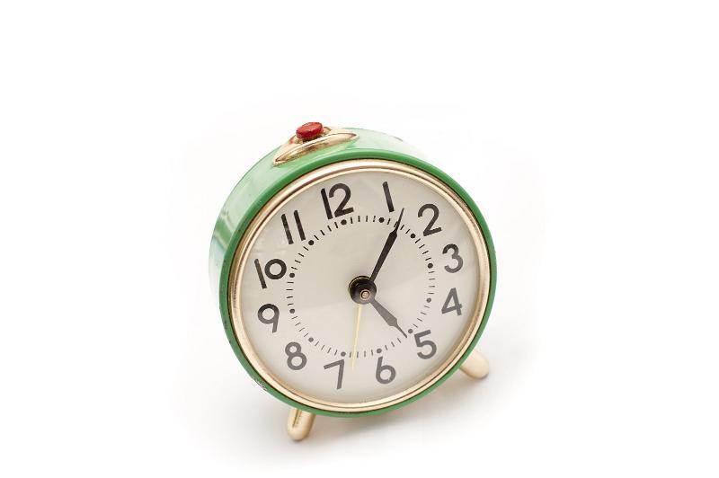 Stock Photo: Still Life of Round Green Vintage Wind Up Alarm Clock ...