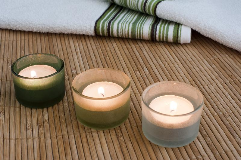 Free Stock Photo: three sented aromatherapy tealight candles
