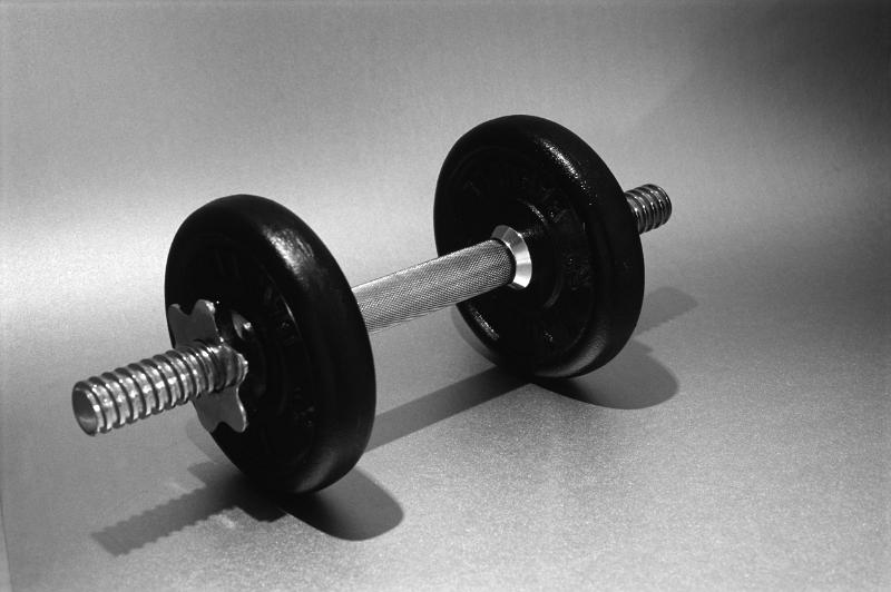 a metal weight training dumbell