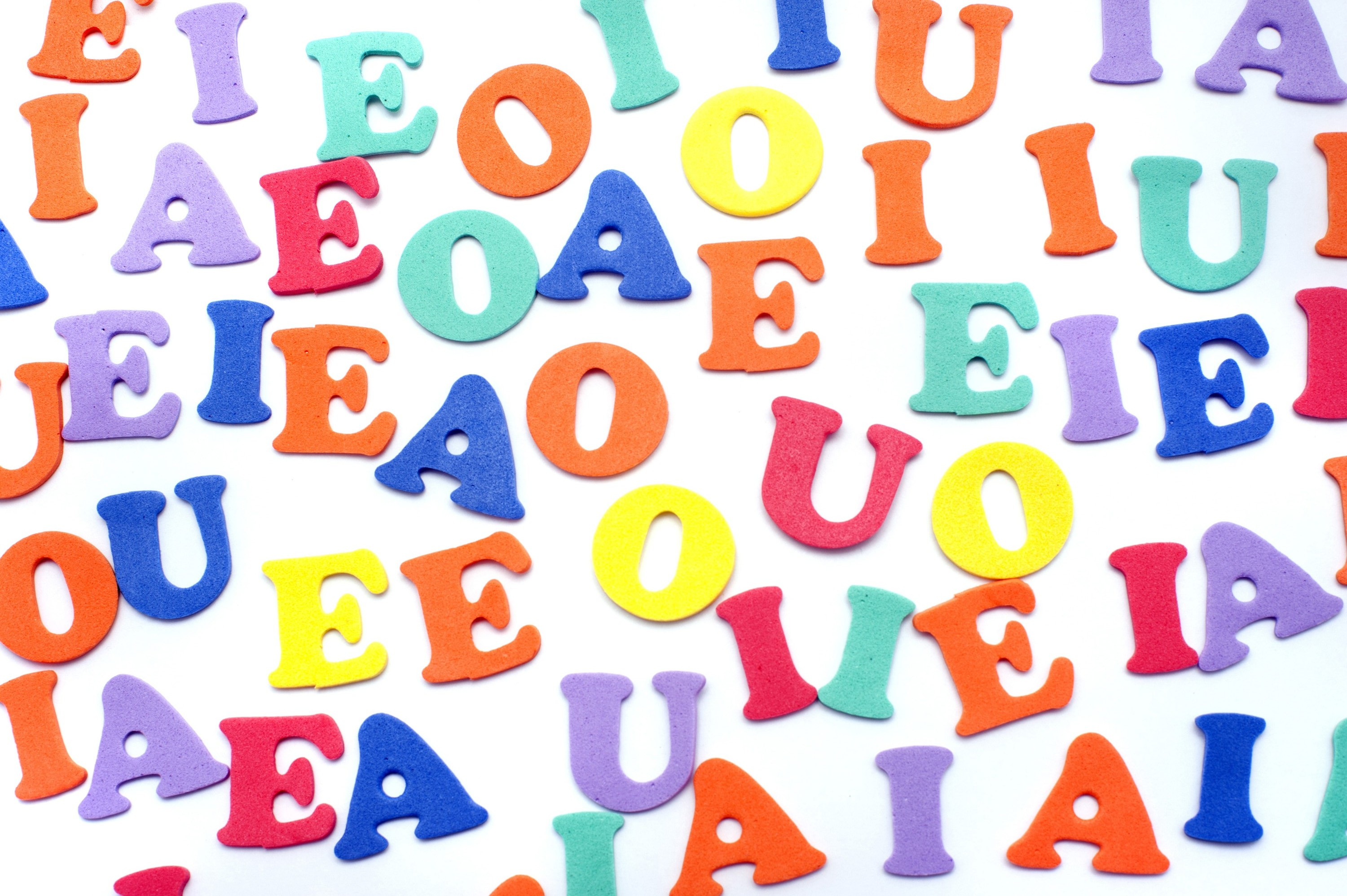 Free image of Colourful random vowels