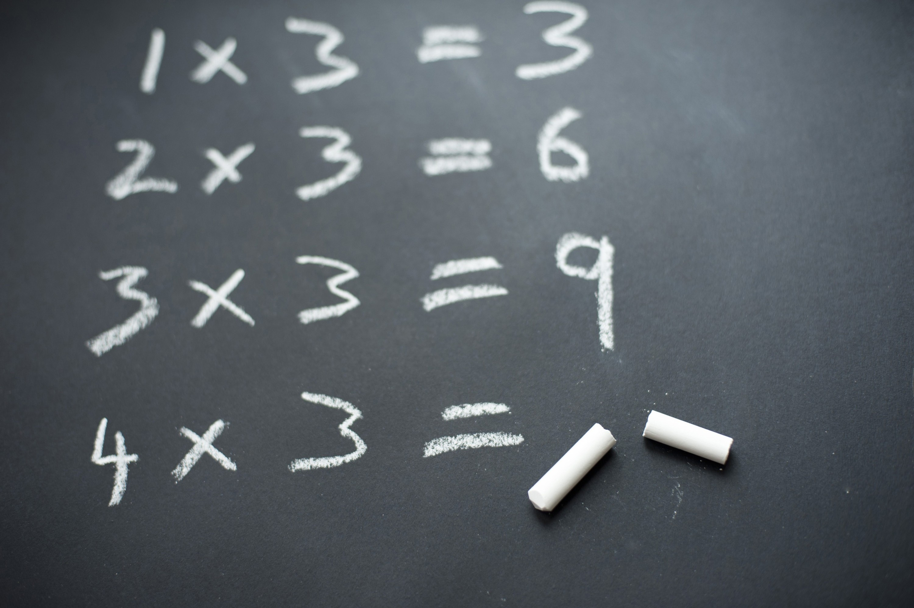 free image of chalkboard three times tables