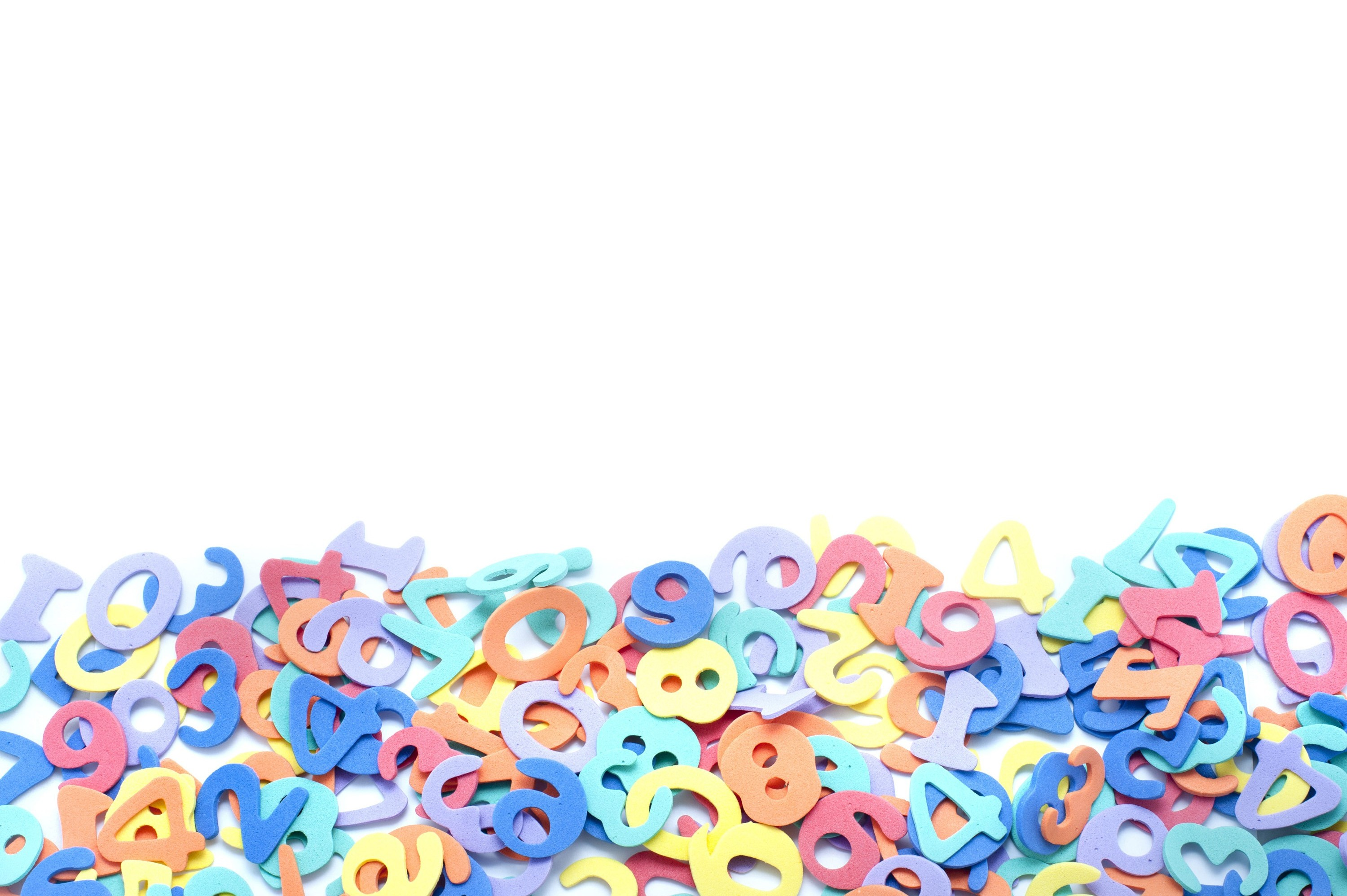 Free Image Of Bunch Colorful Numbers On White Background