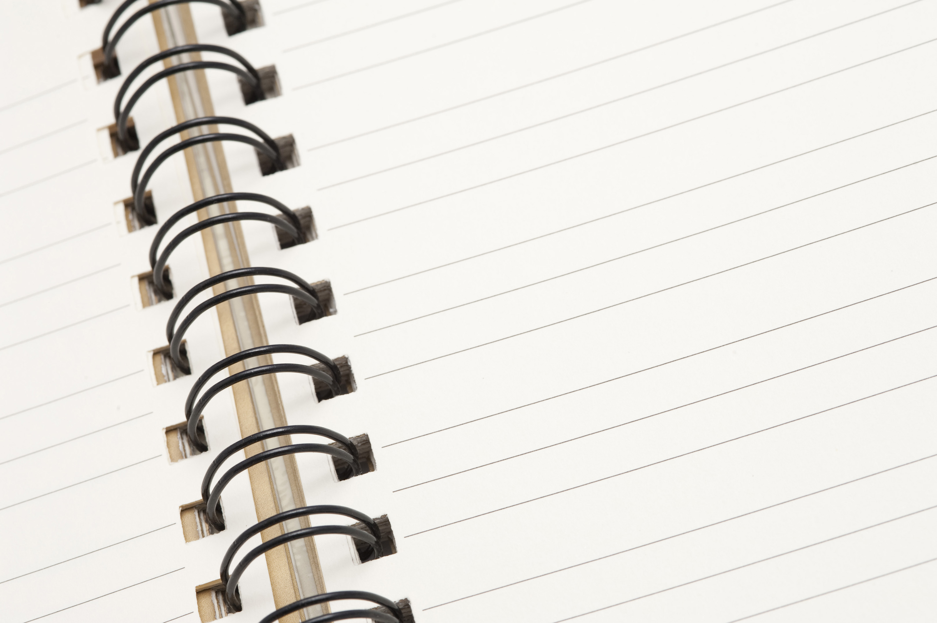 free image of lined notebook with a spiral binding