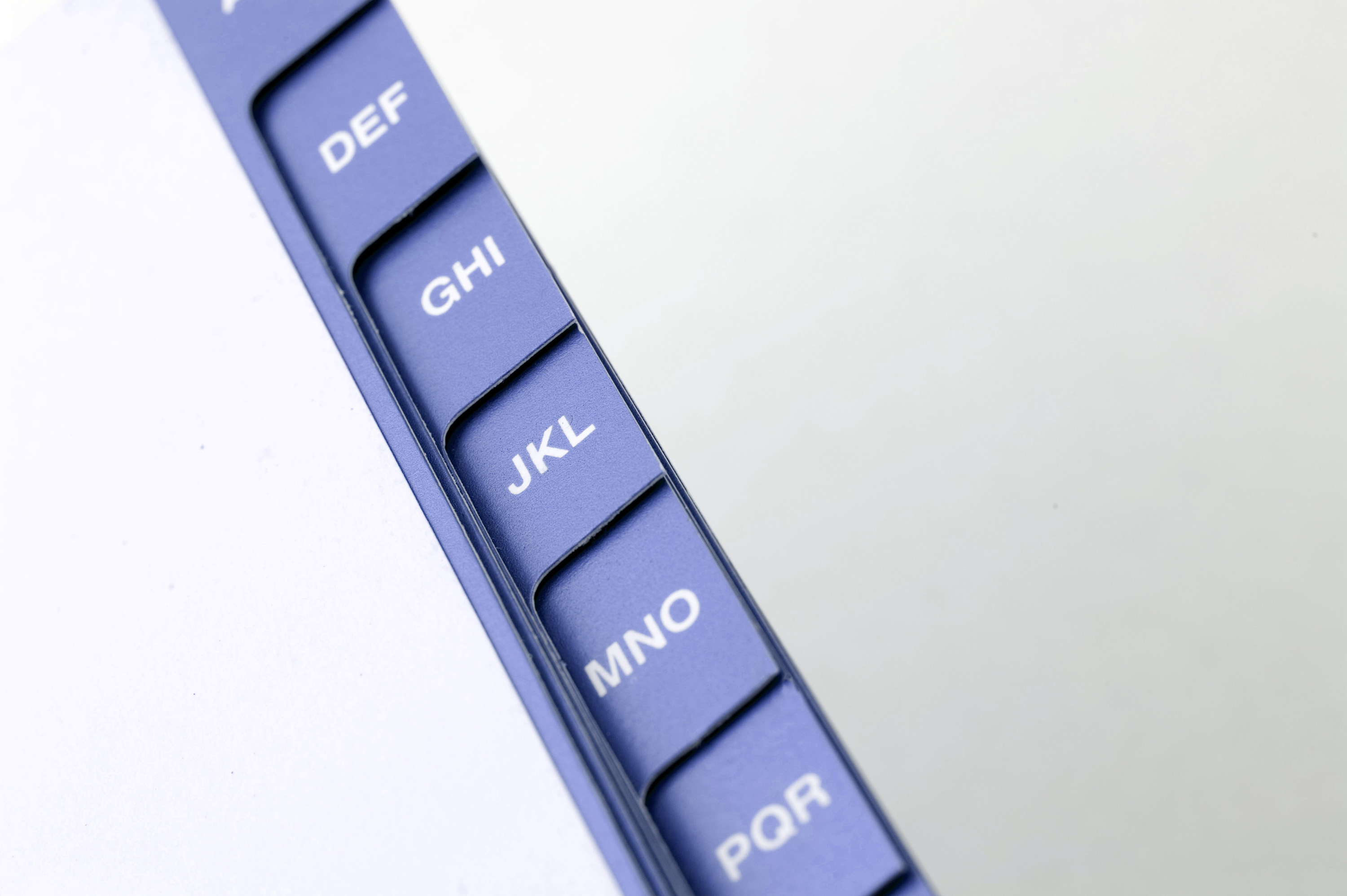 free image of index on an address book